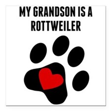 """My Grandson Is A Rottweiler Square Car Magnet 3"""" x"""