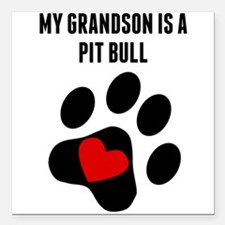 """My Grandson Is A Pit Bull Square Car Magnet 3"""" x 3"""