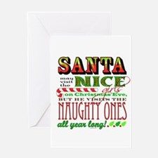 Santa and the Nice Girls Greeting Card