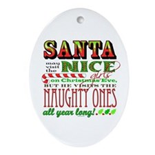 Santa and the Nice Girls Oval Ornament