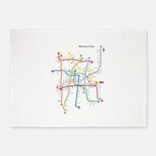 Mexico City metro map 5'x7'Area Rug