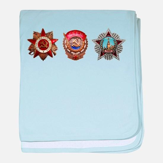 Military Soviet Union Decorations Med baby blanket
