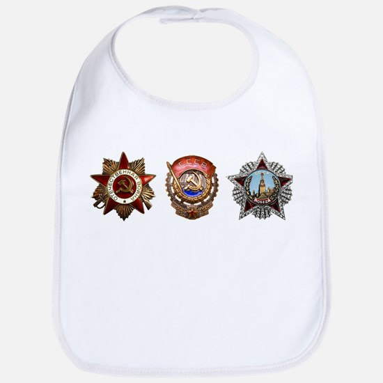 Military Soviet Union Decorations Medals T-shi Bib