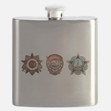 Military Soviet Union Decorations Medals T-s Flask