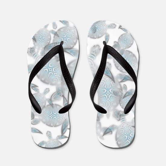 Silver Turtles Pattern Flip Flops