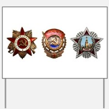 Military Soviet Union Decorations Medals Yard Sign