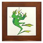 Silly Prince Frog Framed Tile