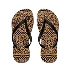 Golden Tudor Damask Flip Flops