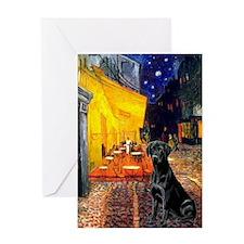 Terrace Cafe & Labrador Greeting Card