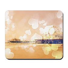 Bokeh Hearts Santa Monica Pier Mousepad