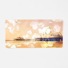 Bokeh Hearts Santa Monica P Aluminum License Plate