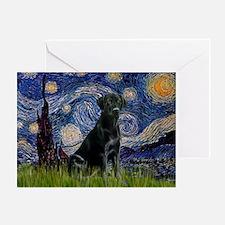Starry Night Black Lab Greeting Card