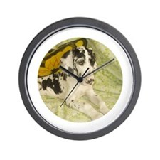 Harlequin Great Dane Fairy puppy Wall Clock