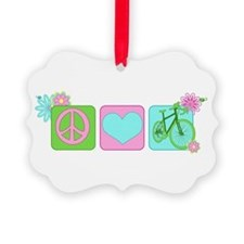 Peace Love and Cycling Ornament