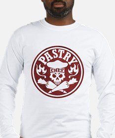 Pastry Chef Skull Red White Long Sleeve T-Shirt