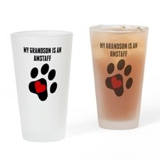 My Grandson Is An AmStaff Drinking Glass