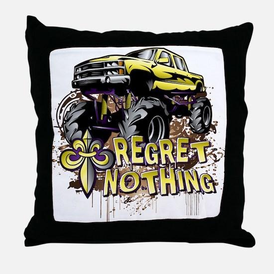 Regret Nothing Mud Truck Throw Pillow