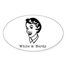 White & Nerdy Woman Oval Decal