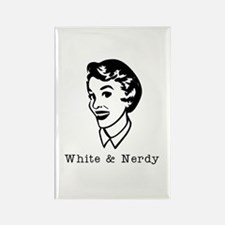 White & Nerdy Woman Rectangle Magnet