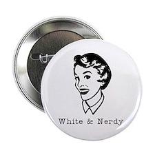 White & Nerdy Woman Button