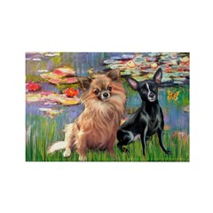 Lilies (2) & 2 Chihuahuas Rectangle Magnet