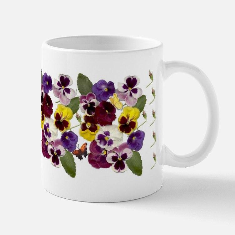 Pansies with Butterflies Mugs