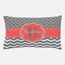 Gray Coral Quatrefoil Chevron Personalized Pillow