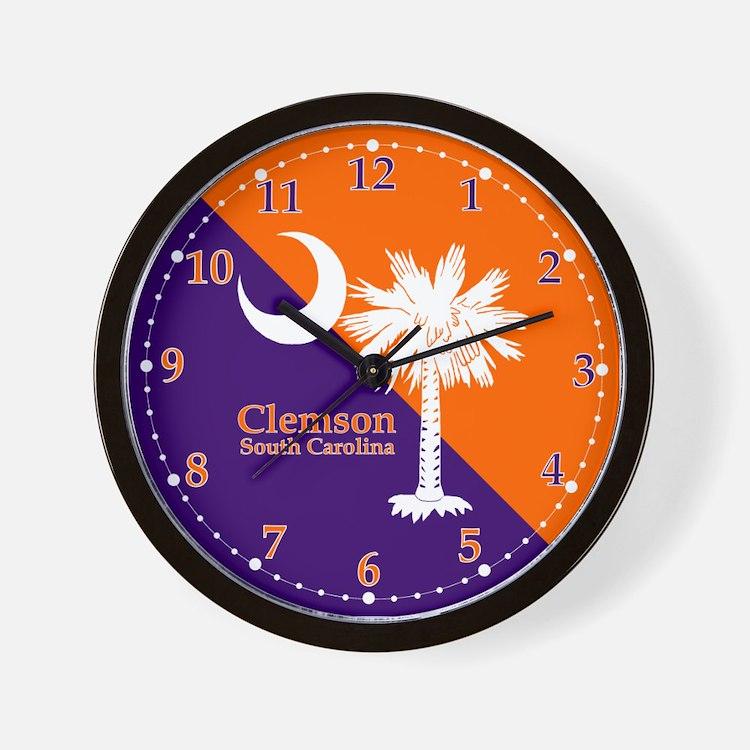 Clemson Flag Wall Clock