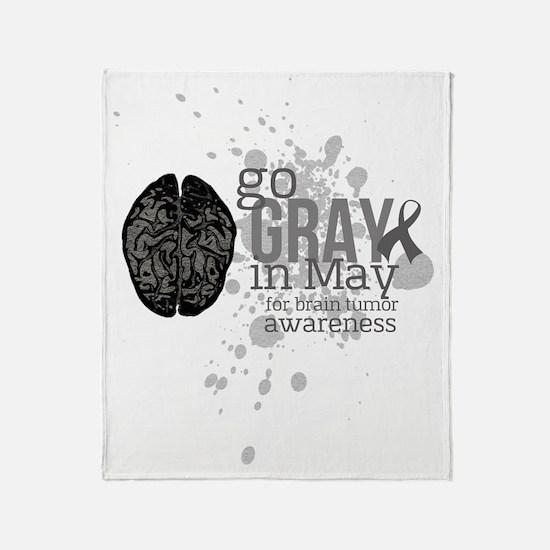 Go Grey in May Throw Blanket