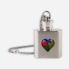 Puzzle Heart Flask Necklace