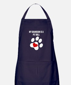 My Grandson Is A Pit Bull Apron (dark)