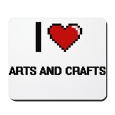 I Love Arts And Crafts Digital Retro Des Mousepad
