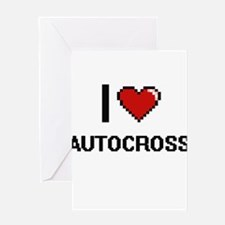 I Love Autocross Digital Retro Desi Greeting Cards