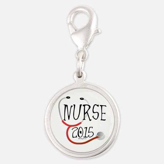 Nurse Graduate 2015 Stethoscop Silver Round Charms