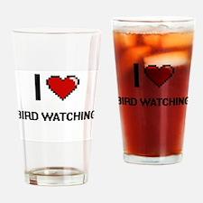 I Love Bird Watching Digital Retro Drinking Glass