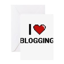 I Love Blogging Digital Retro Desig Greeting Cards