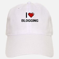 I Love Blogging Digital Retro Design Baseball Baseball Cap