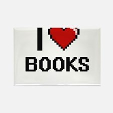 I Love Books Digital Retro Design Magnets