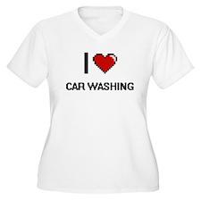 I Love Car Washing Digital Retro Plus Size T-Shirt