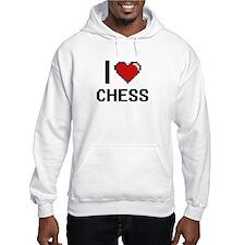 I Love Chess Digital Retro Desig Hoodie