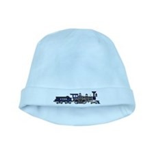 steam train blue and black baby hat