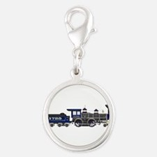 steam train blue and black Charms