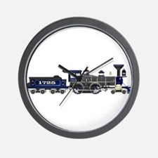 steam train blue and black Wall Clock