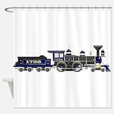 steam train blue and black Shower Curtain