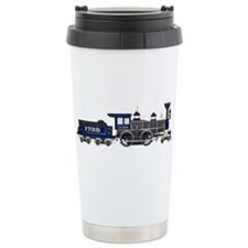 steam train blue and bl Travel Mug