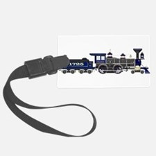 steam train blue and black Luggage Tag
