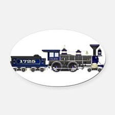 steam train blue and black Oval Car Magnet