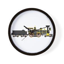 steam train black Wall Clock
