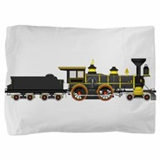 steam train black Pillow Sham