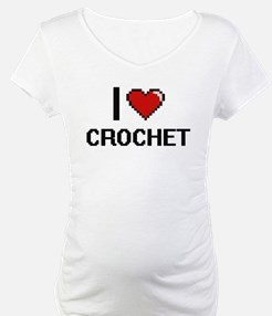 I Love Crochet Digital Retro Des Shirt